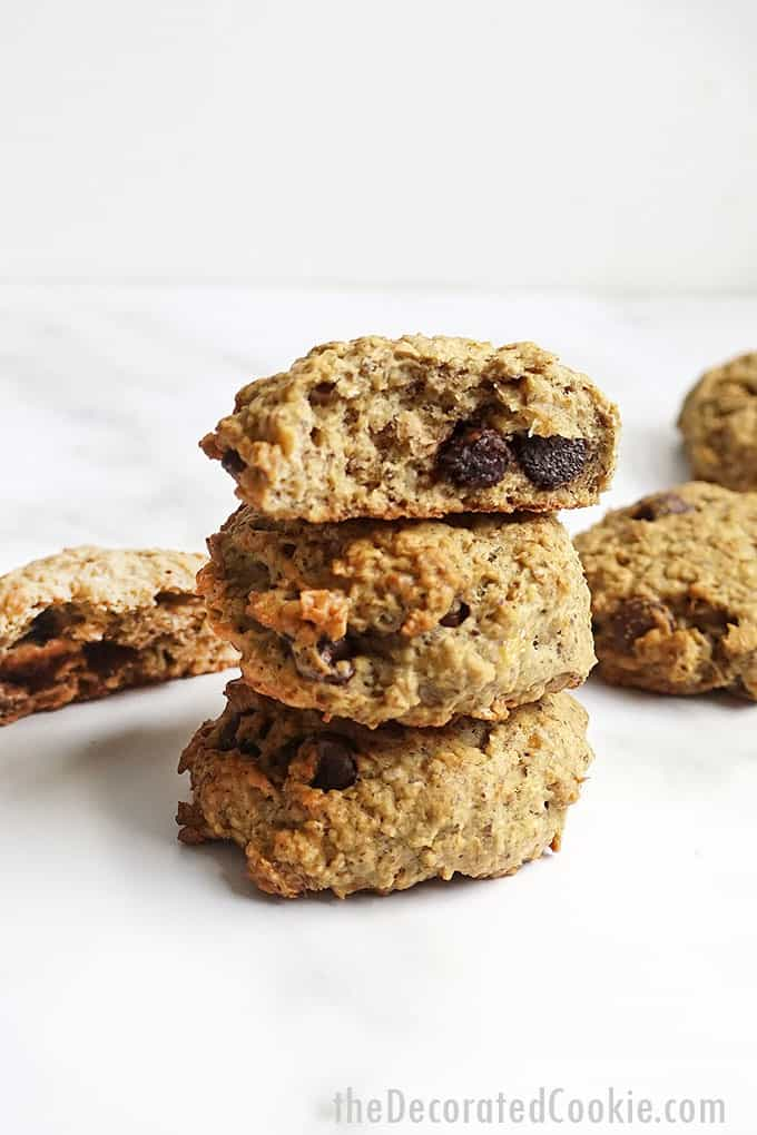 stacked banana oatmeal breakfast cookies
