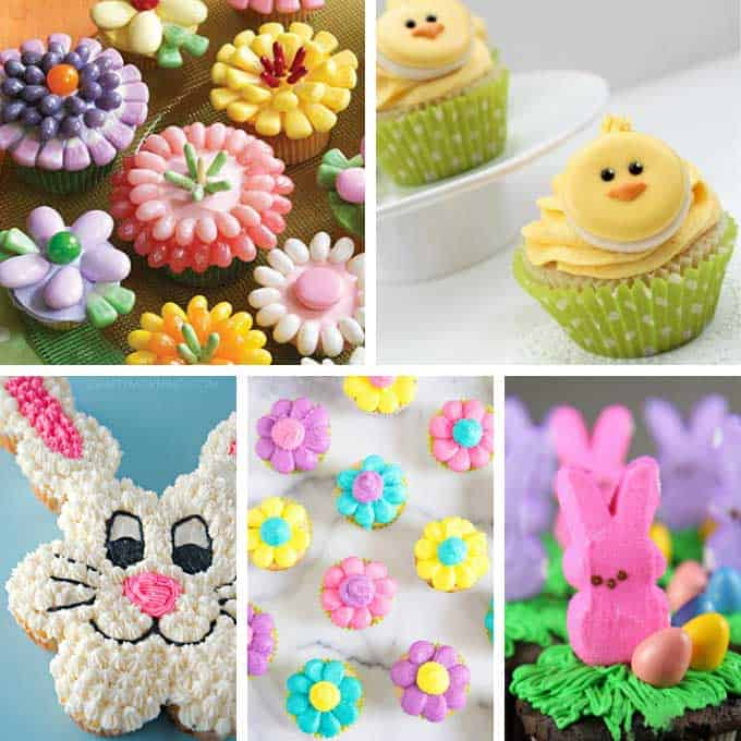 collage of easter cupcakes