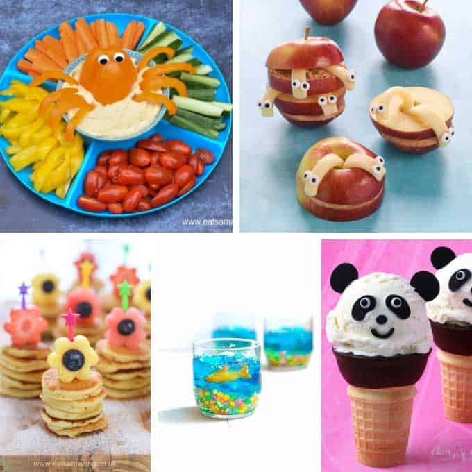 collage of fun food ideas for kids
