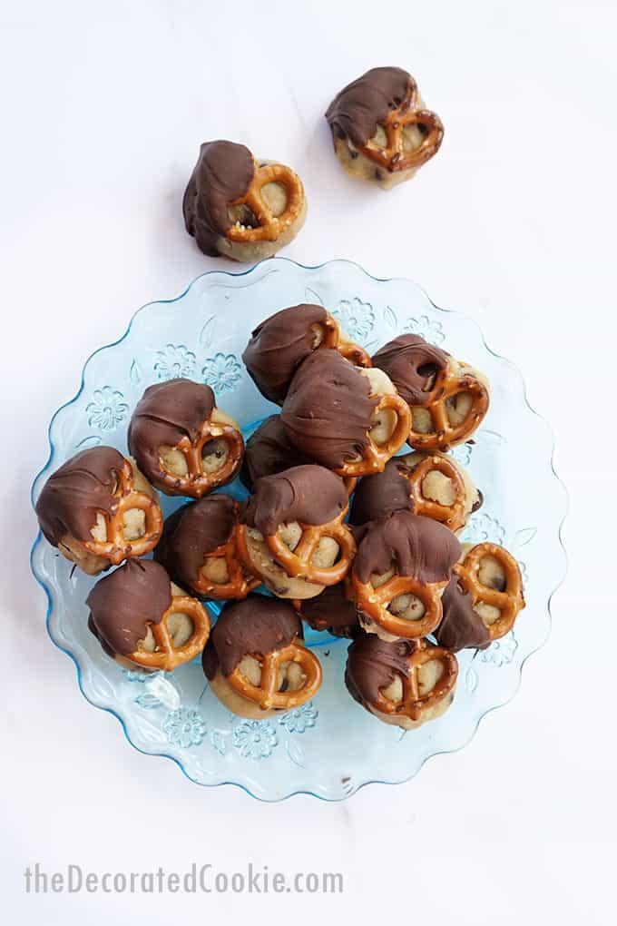 cookie dough pretzel bites on blue plate