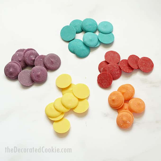 purple, blue, yellow, red, and orange candy melts
