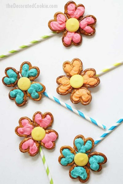 overhead image of flower pretzel pops