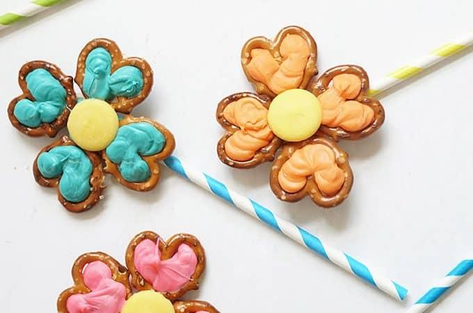 overhead image of flower pretzel pops
