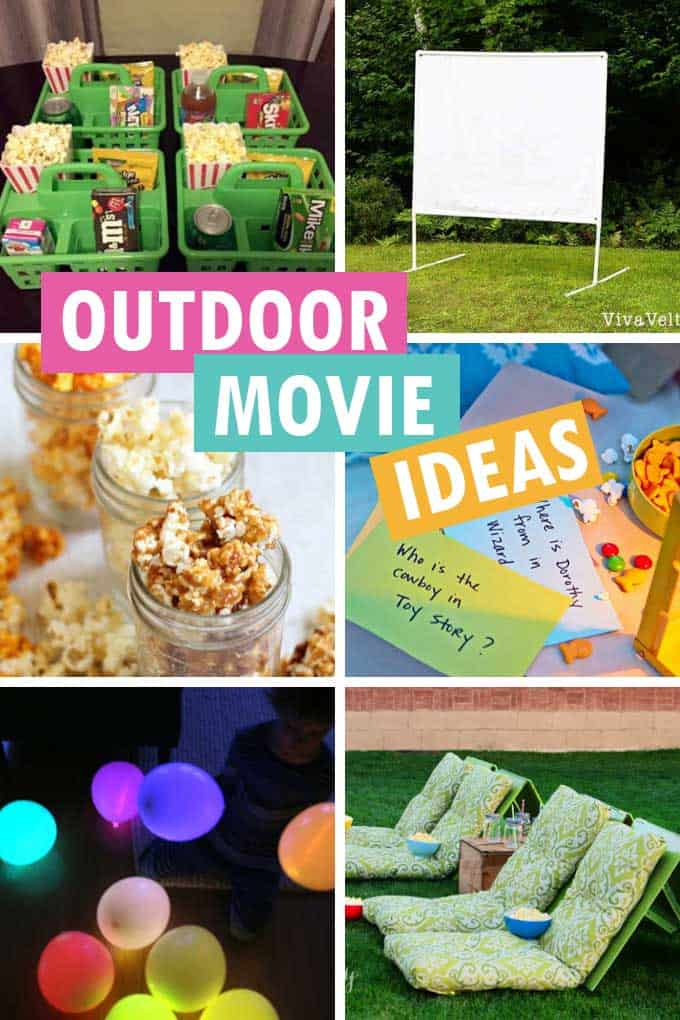 collage of outdoor movie ideas