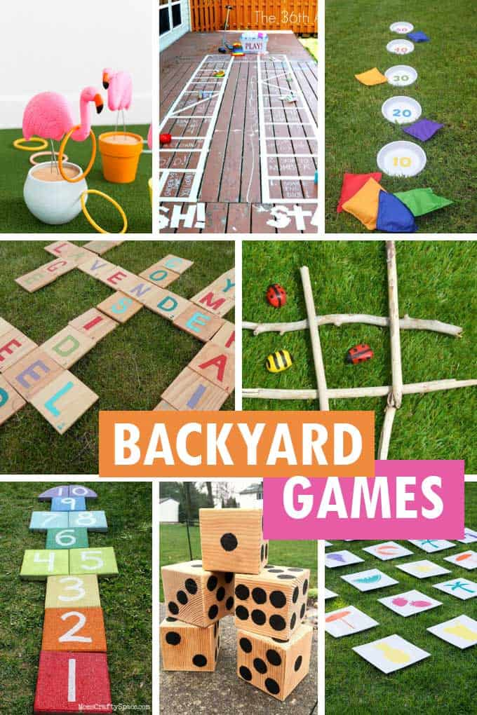 collage of backyard games