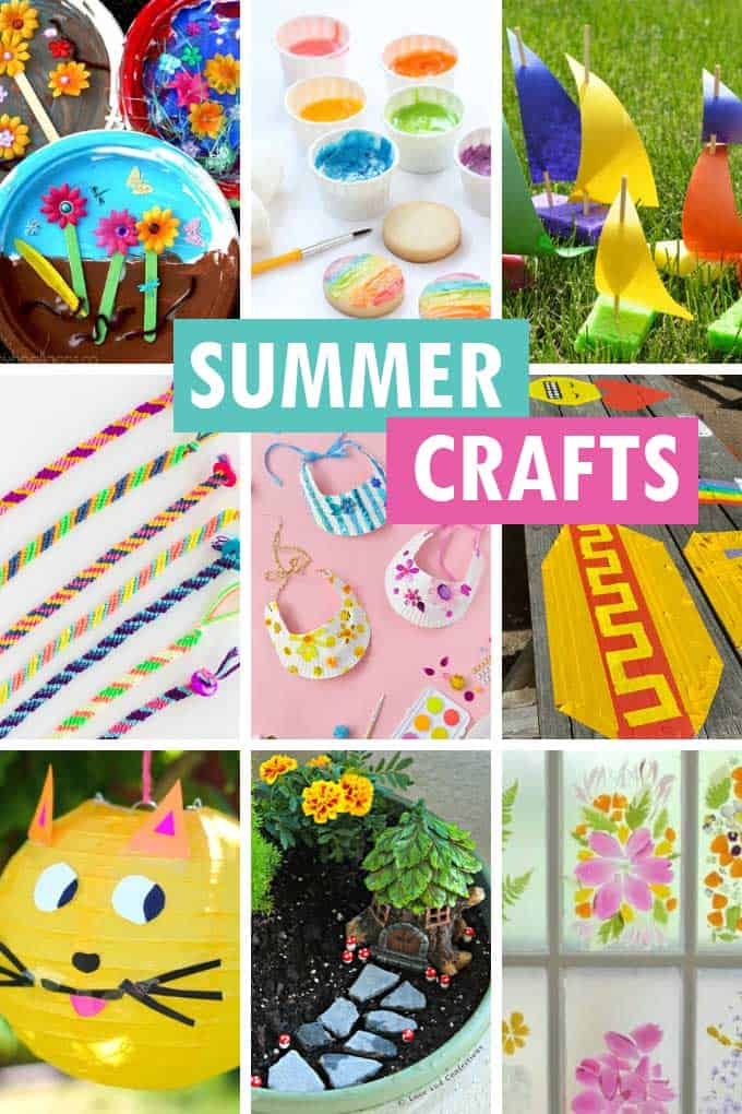 collage of summer crafts