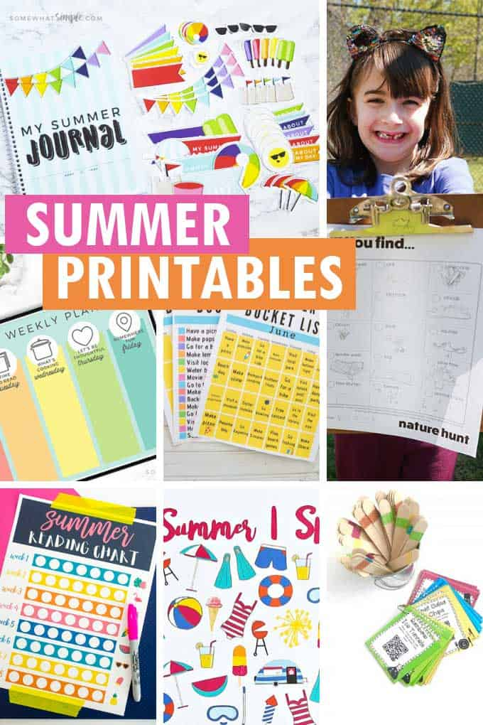 collage of free summer printables