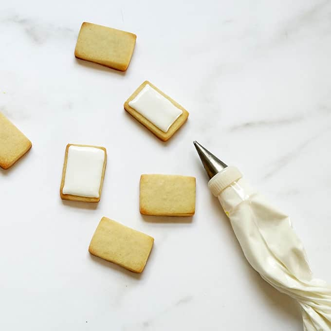 mini cookies with white royal icing