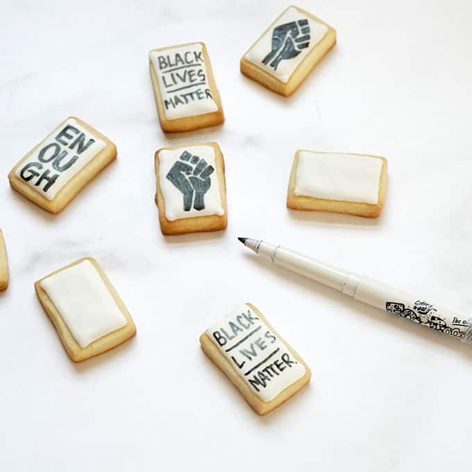 drawing on Black Lives Matter cookies