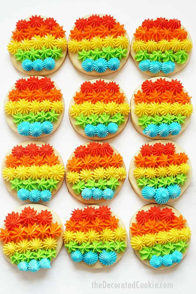 rainbow cookies with piped frosting
