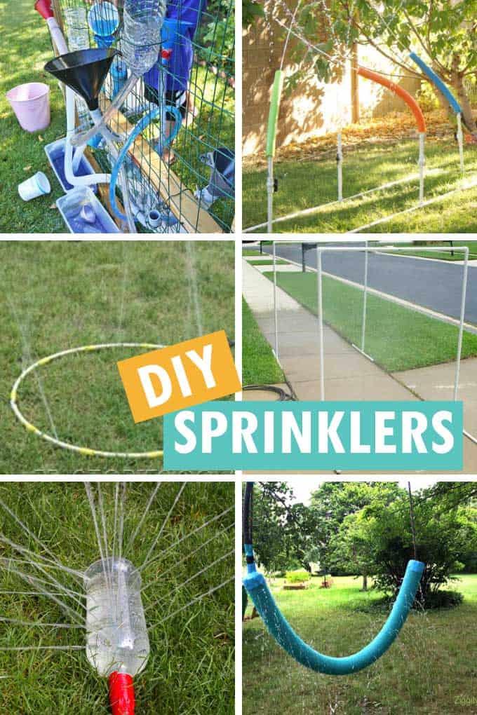 collage of DIY sprinklers