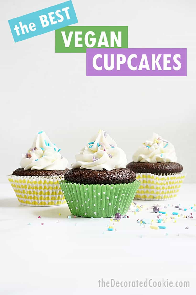 vegan chocolate cupcakes with vegan buttercream frosting