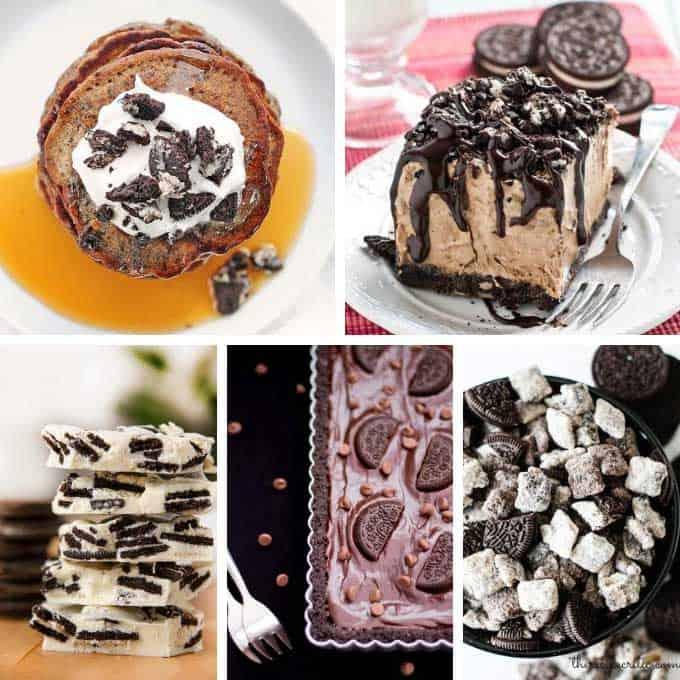 collage of oreo desserts