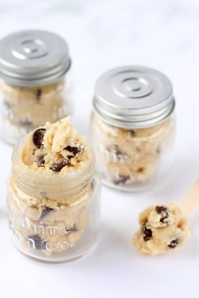 edible chocolate chip cookie dough in jars