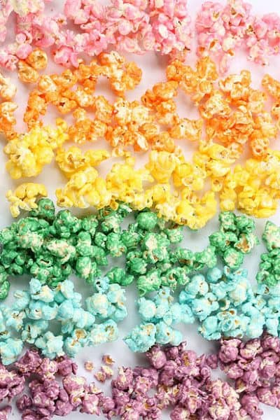 rainbow colored popcorn