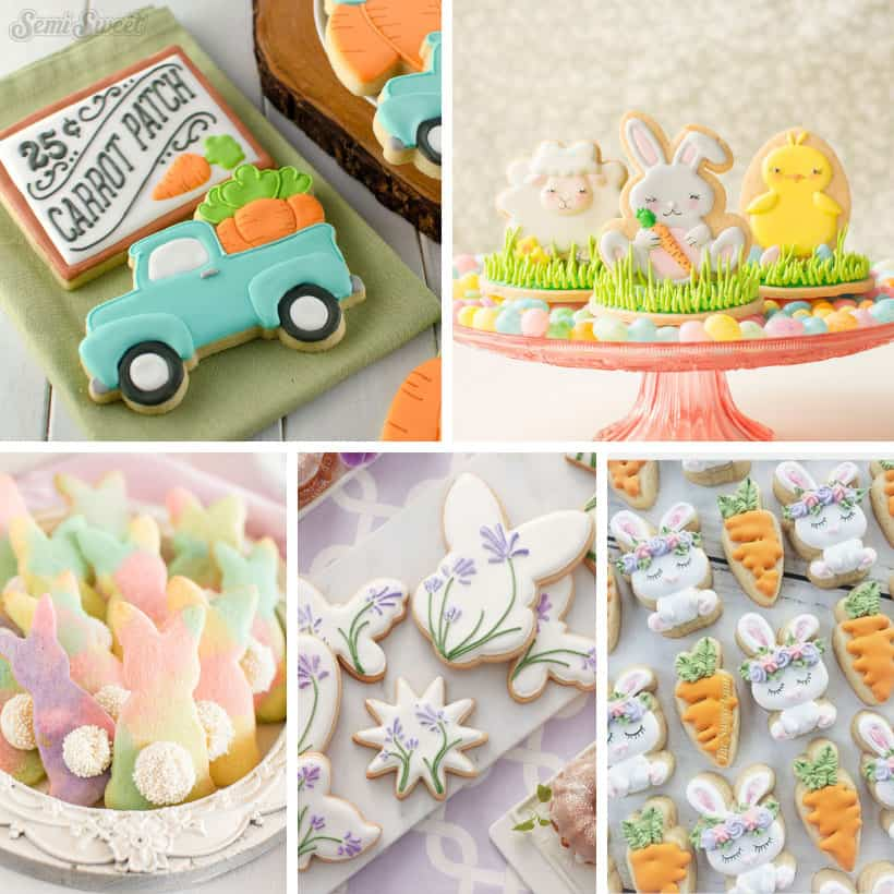 collage of decorated Easter cookies ideas