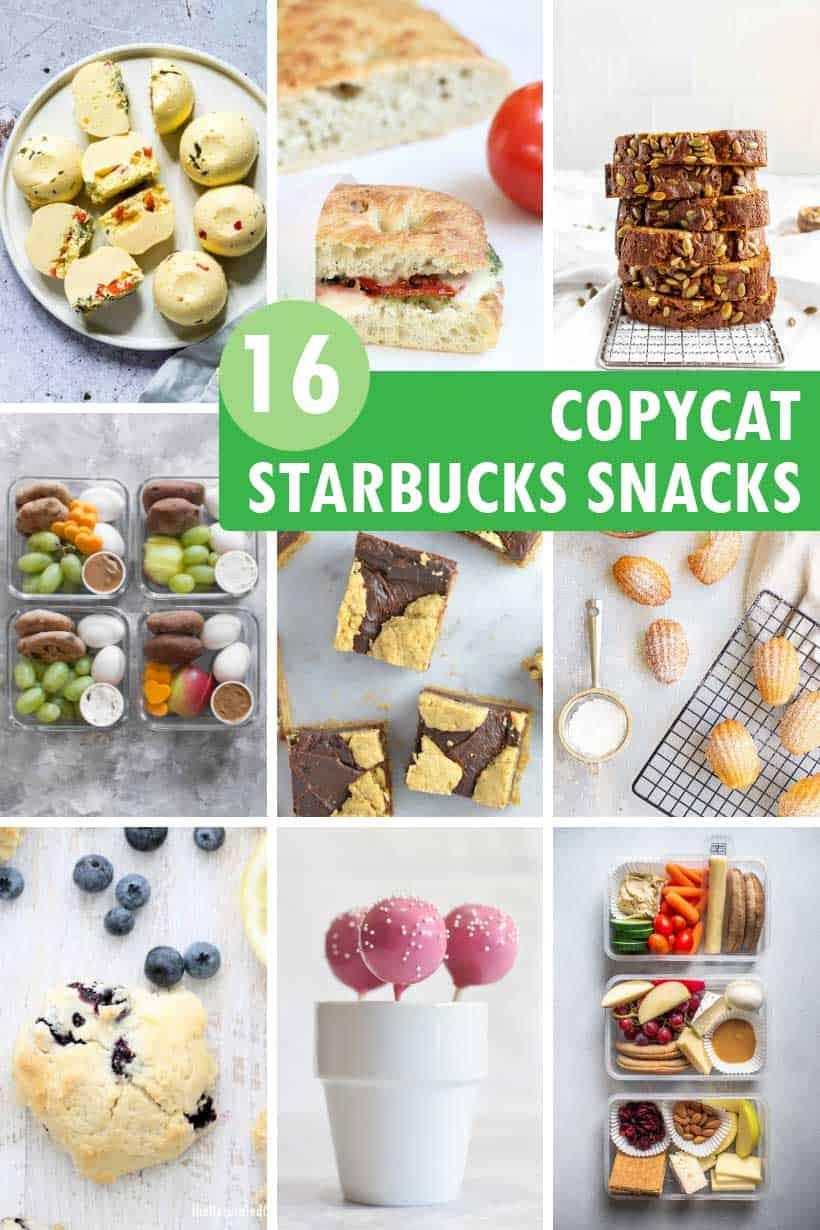 collage of Starbucks snacks recipes