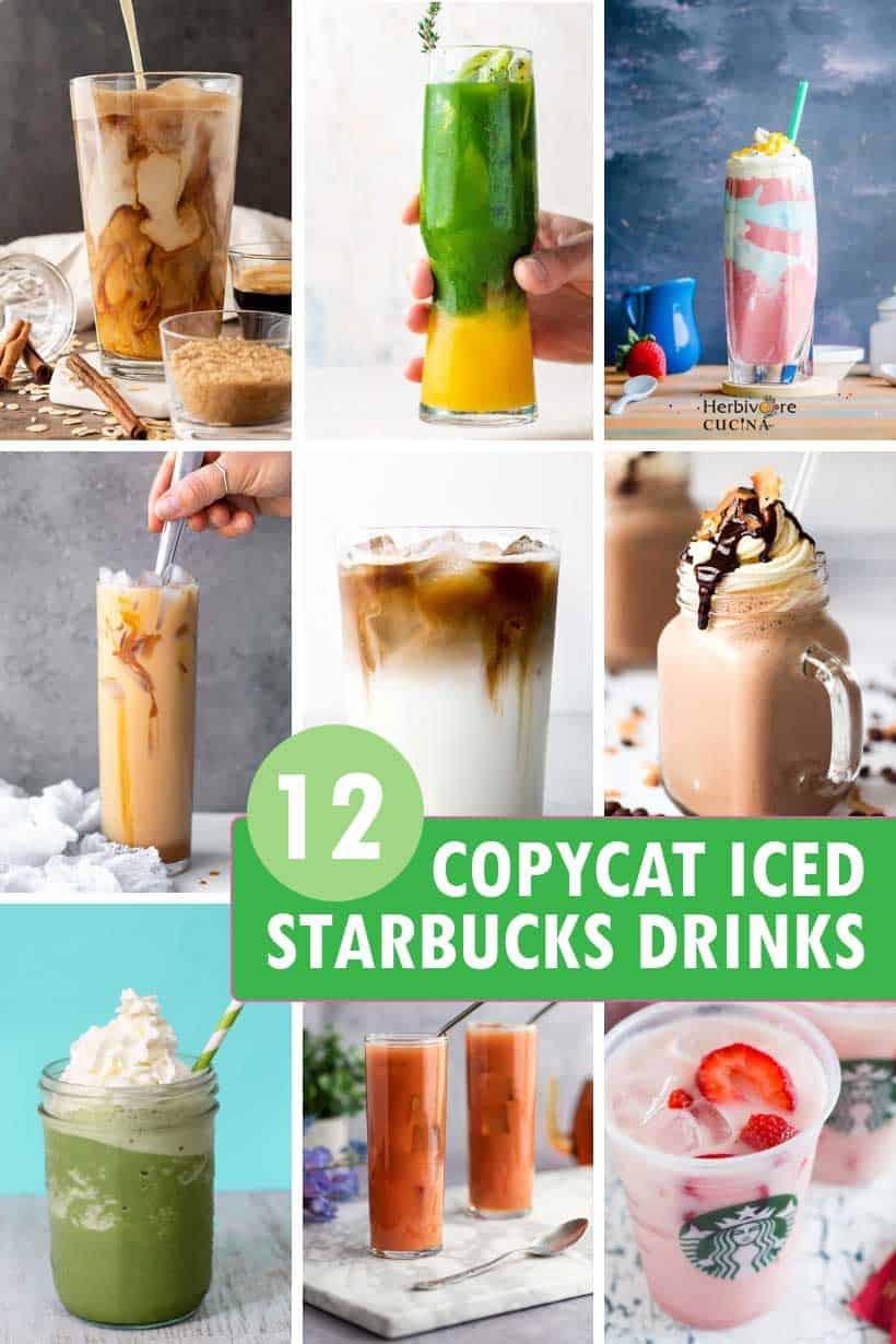 a collage of Starbucks iced drinks recipes