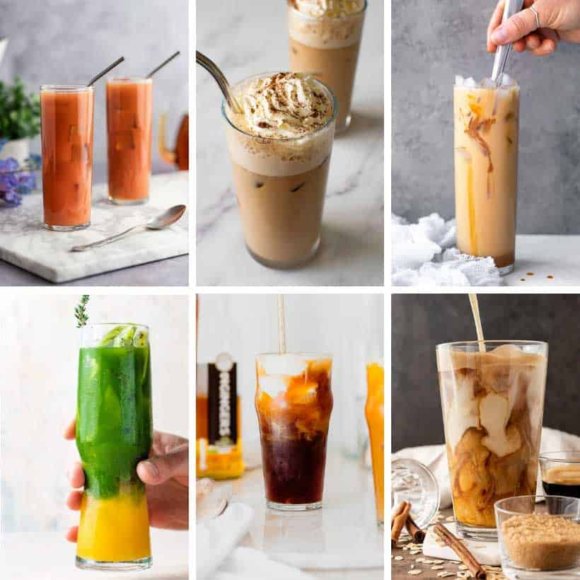collage of Starbucks iced drinks recipes