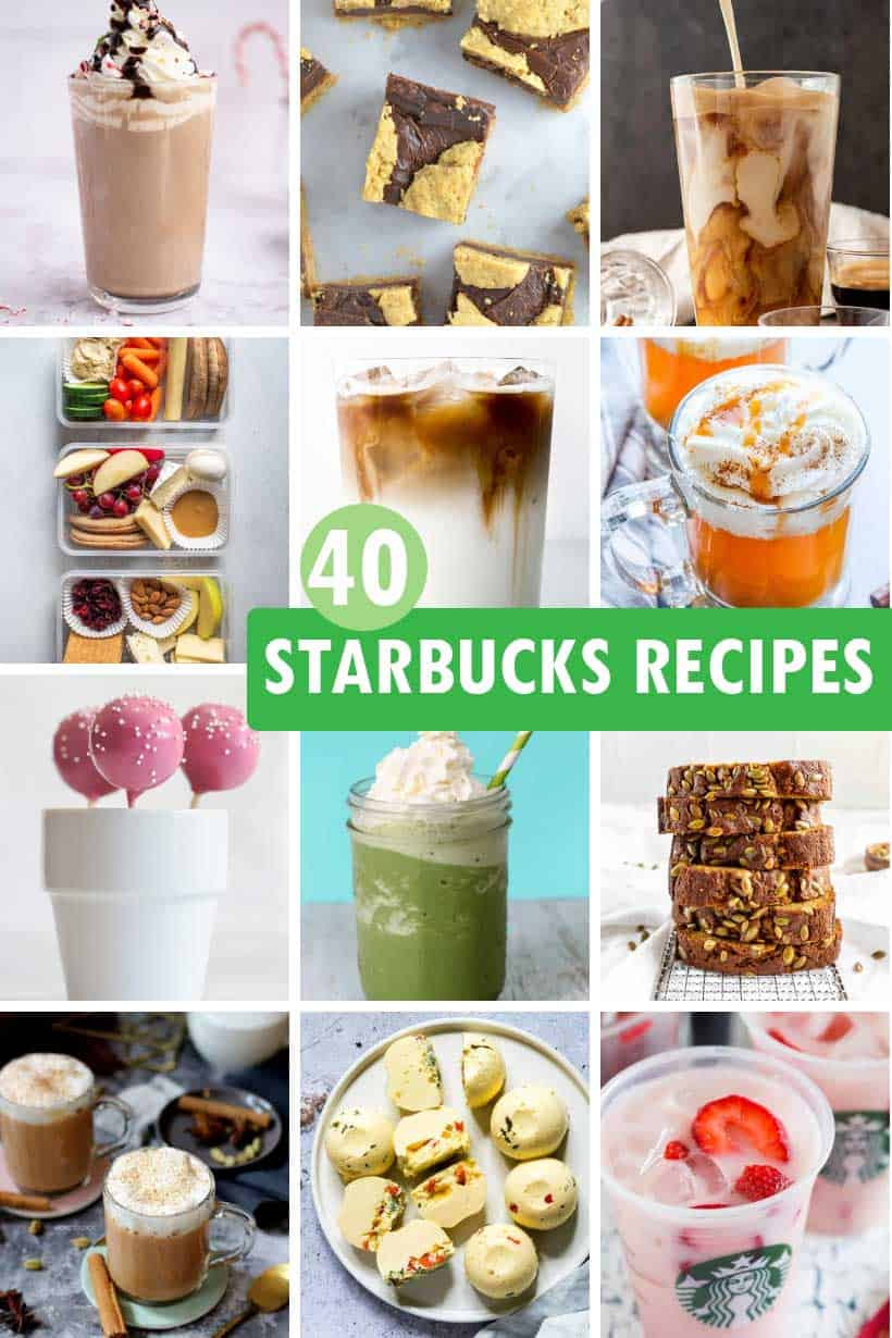 collage of Starbucks recipes you can make at home