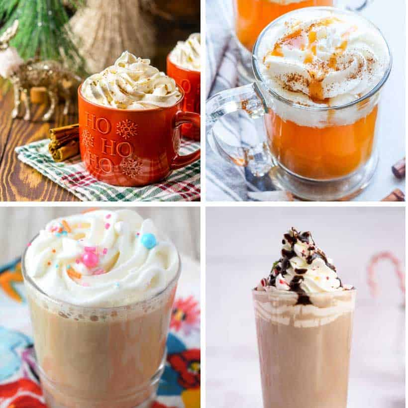 collage of Starbucks hot drinks recipes