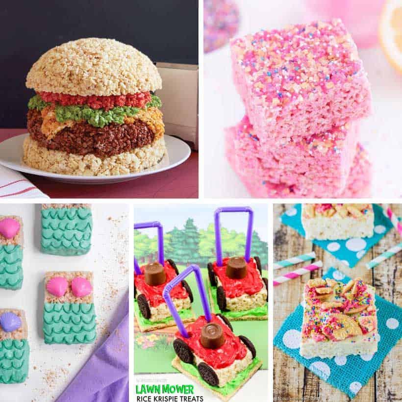 no-bake Rice Krispie treats summer-themed
