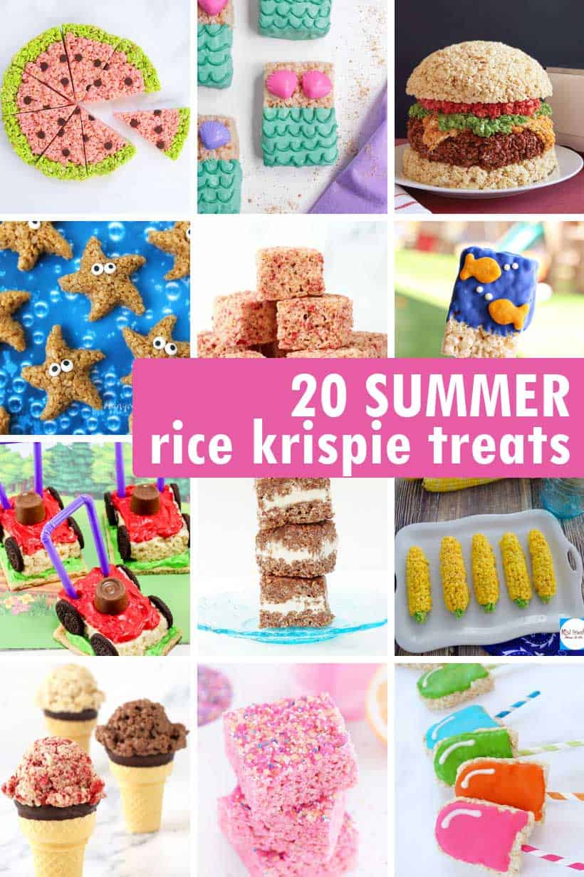 summer-themed cute and clever Rice Krispie Treats no-bake desserts