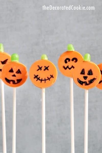 Jack O' Lantern candy melts chocolate Halloween lollipops